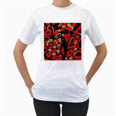 Red Artistic Design Women s T Shirt (white) (two Sided)