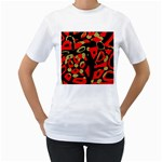 Red artistic design Women s T-Shirt (White) (Two Sided) Front