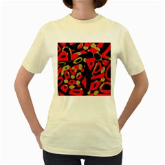 Red Artistic Design Women s Yellow T Shirt