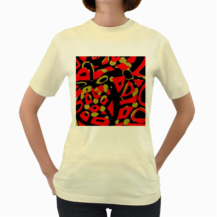 Red artistic design Women s Yellow T-Shirt