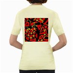 Red artistic design Women s Yellow T-Shirt Back