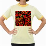 Red artistic design Women s Fitted Ringer T-Shirts Front