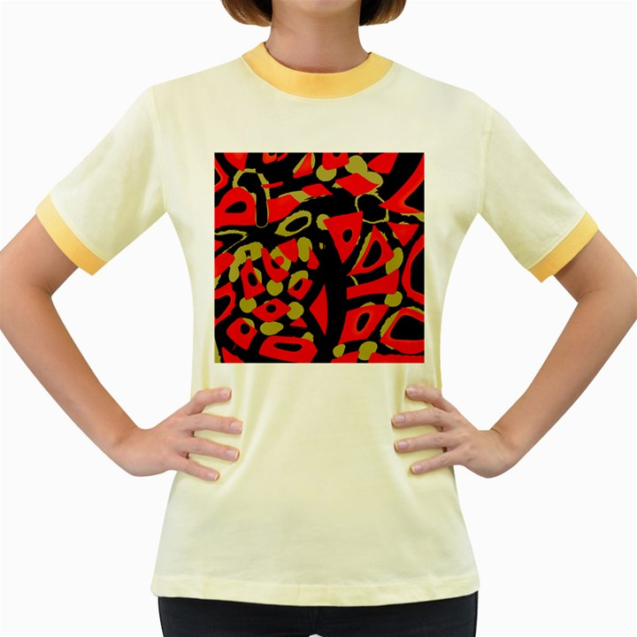Red artistic design Women s Fitted Ringer T-Shirts