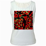 Red artistic design Women s White Tank Top Front