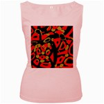Red artistic design Women s Pink Tank Top Front