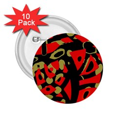 Red Artistic Design 2 25  Buttons (10 Pack)
