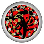 Red artistic design Wall Clocks (Silver)  Front