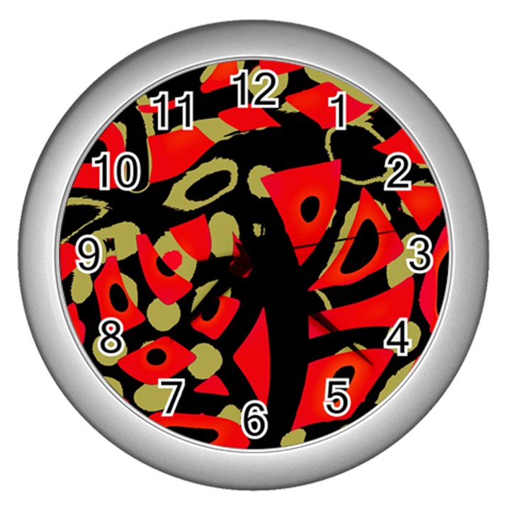 Red artistic design Wall Clocks (Silver)