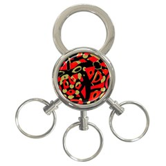 Red Artistic Design 3 Ring Key Chains