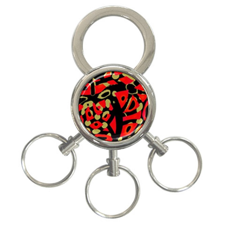 Red artistic design 3-Ring Key Chains