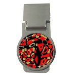 Red artistic design Money Clips (Round)  Front