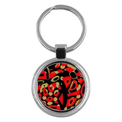 Red Artistic Design Key Chains (round)