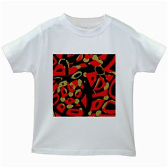 Red Artistic Design Kids White T Shirts