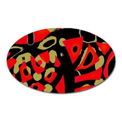 Red Artistic Design Oval Magnet