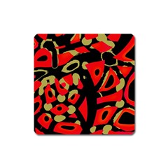 Red Artistic Design Square Magnet
