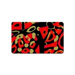 Red artistic design Magnet (Name Card) Front
