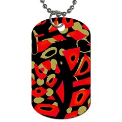 Red Artistic Design Dog Tag (one Side)