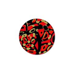 Red Artistic Design Golf Ball Marker (4 Pack) by Valentinaart