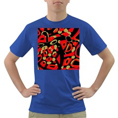 Red Artistic Design Dark T Shirt
