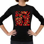 Red artistic design Women s Long Sleeve Dark T-Shirts Front