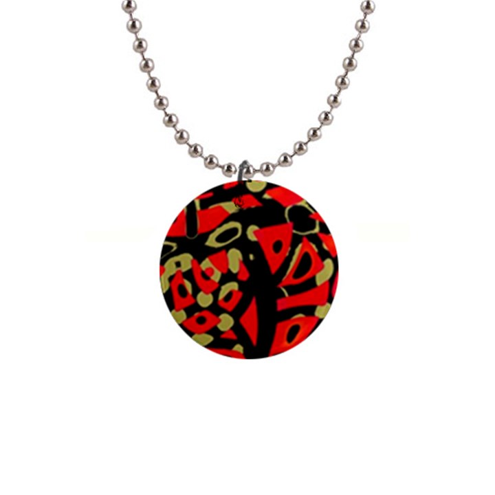 Red artistic design Button Necklaces
