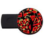 Red artistic design USB Flash Drive Round (4 GB)  Front