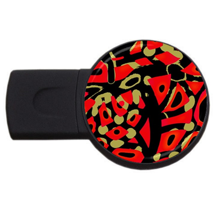 Red artistic design USB Flash Drive Round (4 GB)