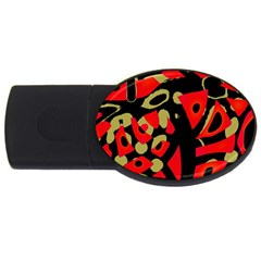 Red Artistic Design Usb Flash Drive Oval (4 Gb)
