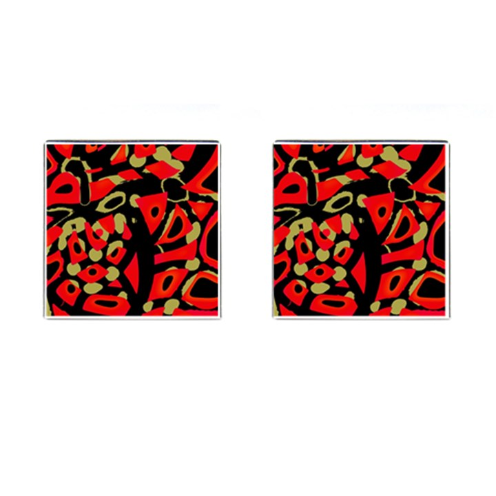 Red artistic design Cufflinks (Square)