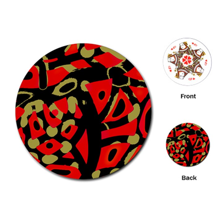 Red artistic design Playing Cards (Round)