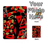 Red artistic design Playing Cards 54 Designs  Front - Club2