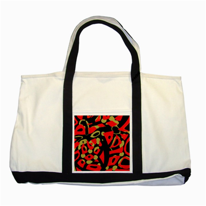 Red artistic design Two Tone Tote Bag