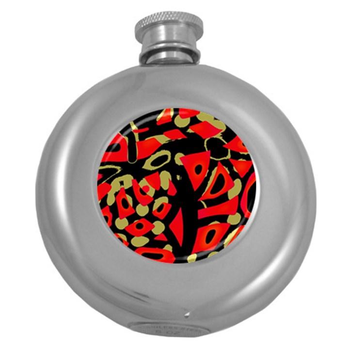 Red artistic design Round Hip Flask (5 oz)