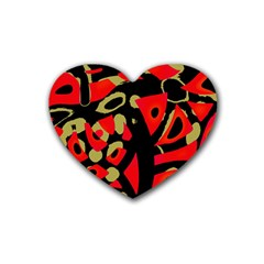 Red Artistic Design Rubber Coaster (heart)  by Valentinaart