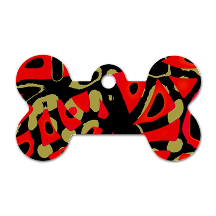 Red artistic design Dog Tag Bone (Two Sides)