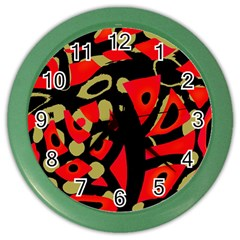 Red Artistic Design Color Wall Clocks by Valentinaart