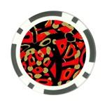 Red artistic design Poker Chip Card Guards Back