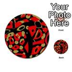 Red artistic design Multi-purpose Cards (Round)  Back 2