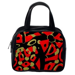 Red Artistic Design Classic Handbags (one Side)
