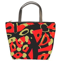 Red artistic design Bucket Bags
