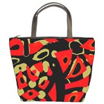 Red artistic design Bucket Bags Front