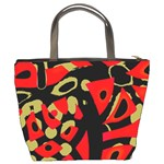 Red artistic design Bucket Bags Back
