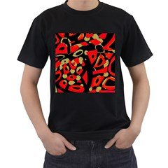 Red Artistic Design Men s T Shirt (black)