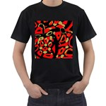 Red artistic design Men s T-Shirt (Black) Front