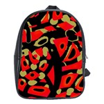 Red artistic design School Bags(Large)  Front