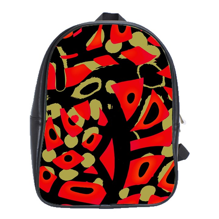 Red artistic design School Bags(Large)