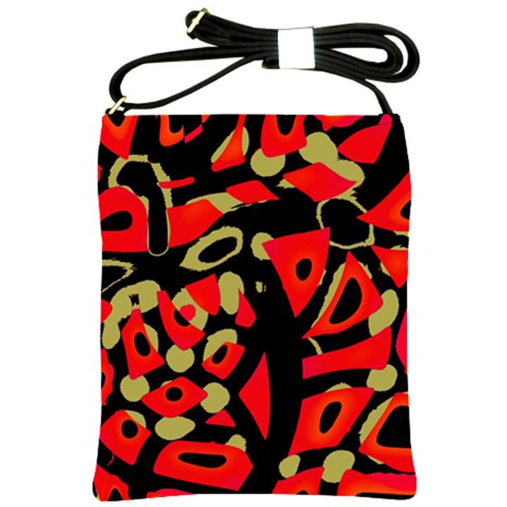 Red artistic design Shoulder Sling Bags