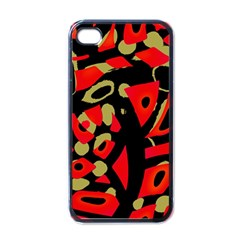 Red Artistic Design Apple Iphone 4 Case (black)