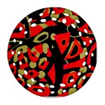 Red artistic design Ornament (Round Filigree)  Front