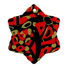 Red Artistic Design Snowflake Ornament (2 Side)